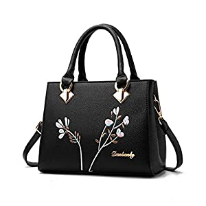 Leathario Women Handbag Leather Shoulder Bag PU Crossbody Bag Fashion Casual Tote Top-Handle Lady Multi-Functional, Shopping Small Bag Printing Business Travel Work Daily Girl