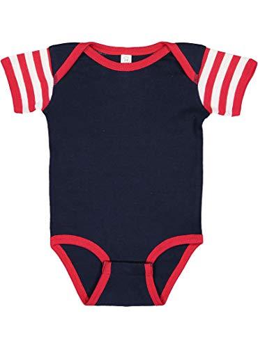 100% Cotton Baby Rib Lap Shoulder Short Sleeve Bodysuit (Navy/Red/Red & White Stripe, 24 Months) ()
