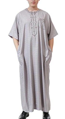 M&S&W Saudi Arab Dress Mens Short Sleeve Muslim Thobes Robe 3 L by M&S&W