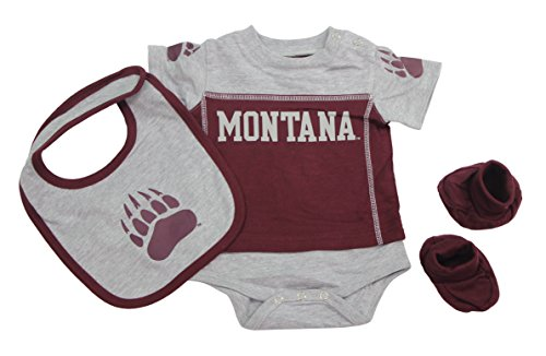 Outerstuff Montana Grizzlies Baby Clothing, University 3 Piece Creeper Bib Booties Apparel Set
