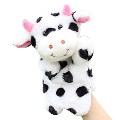 Happy Cherry Kindergarten Story Game Education Props Animal Plush Hand Puppet Black and White Dairy Cows
