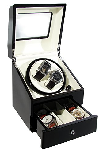 CKB Ltd DELUXE Automatic Watch Winder with Double Watch Box with Drawer - 4...