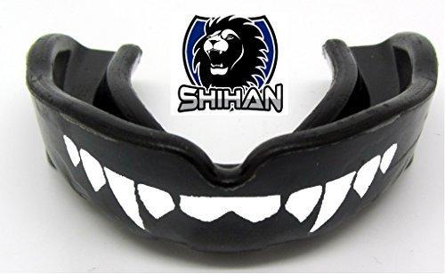 Mouthguards Gum Shield BLACK Sensei J Signature Gum Shield 'FANGS-TEETH - (Black) Senior , MMA, Rugby, Ufc Wrestling Mouth Guard by Shihan