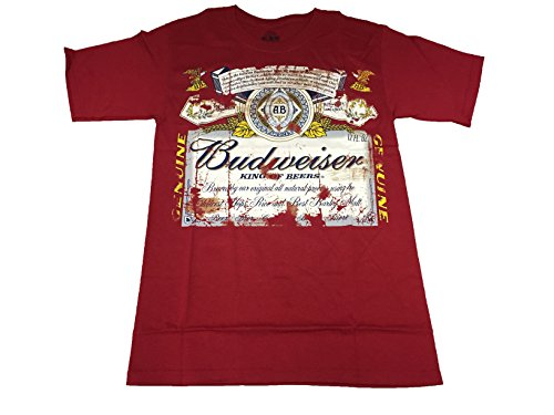 Budweiser King of Beers Label T Shirt (Small, Tattered Label) by Budweiser