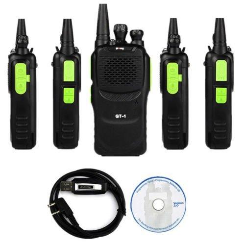 Baofeng 5 x Pofung GT-1 UHF 400-470MHz FM Two-Way Ham Radio Green (LOT 5) + 1 x Programming Cable (Gt Baofeng 1)