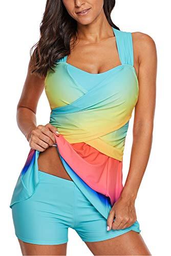 Uniarmoire Womens Swim Dress with Short Two Piece Tankini Swimsuit Sky L -