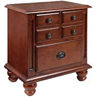 Furniture of America Corvallis European Style 2-Drawer Nightstand, Cherry Finish