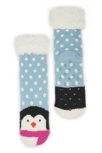 Women's Faux Fur Fuzzy Winter Animal Socks with Grippers -Penguin (I Feel Good Button compare prices)