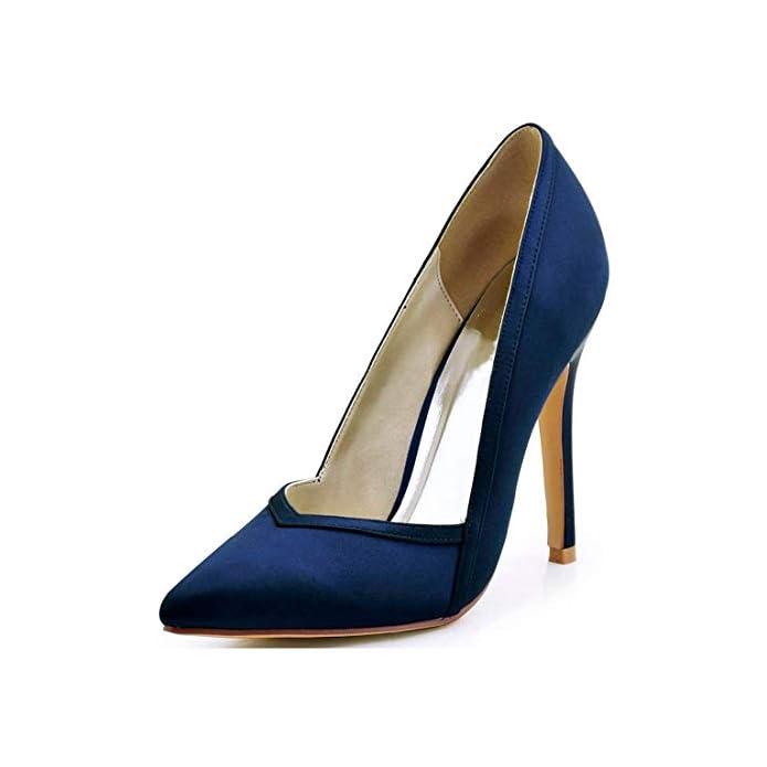 Qiusa Tacco A Spillo Da Donna Punta In Raso Blu Scuro Sposa Uk 7 colore - Dimensione -