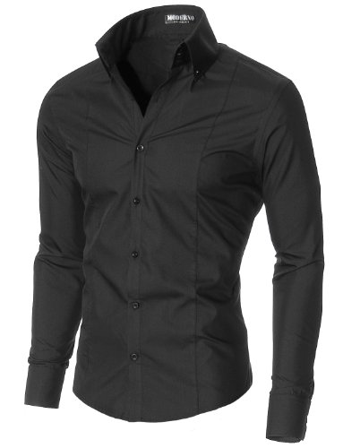 moderno mens dress shirts slim fit long sleeve high button