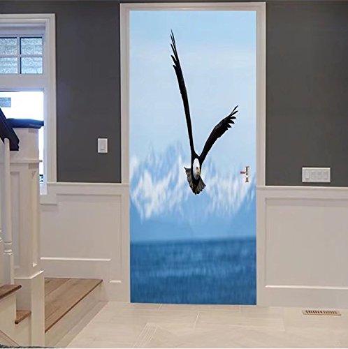 iprint 3d Door Wall Mural Wallpaper Stickers-american bald eagle flies above the sea 20269 For Room Decor 30x79