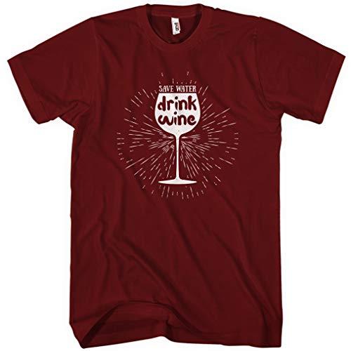 (Smash Transit Men's Save Water Drink Wine T-Shirt - Maroon, Large)