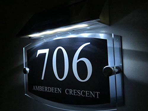 Personalised! Modern House Signs Plaques Door Numbers 1-9999 Street Name Solar Light LED Aluminum Solar Led Numbers