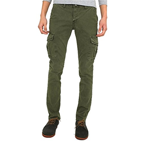 myglory77mall Mens Vintage Cargo Pocket Faded Slim Fit Skinny Jeans Pants Trousers Khaki 34