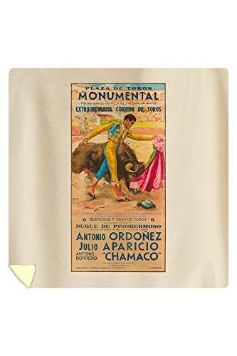 Plaza de Toros Monumental - Ordonez - Aparicio - Chamaco Vintage Poster (artist: Reus) Spain c. 1957 (88x88 Queen Microfiber Duvet Cover) by Lantern Press