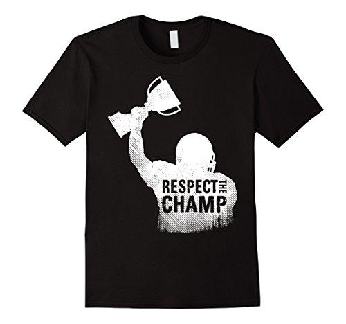 Mens Fantasy Football League Champion Respect Champ Trophy Shirt 2XL Black