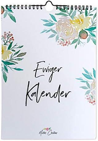 Immerwährender Geburtstagskalender, Aquarell, DIN A4, Jahresunabhängig, Floraler Jahreskalender für Notizen, wiederkehrende Termine oder Geburtstage