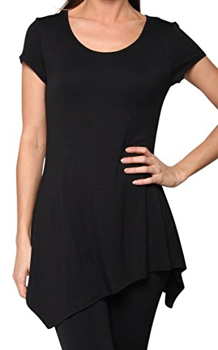 Free to Live Short Sleeve Asymmetrical Handkerchief Hem Fitted Tunic Made in USA (Small, Black)