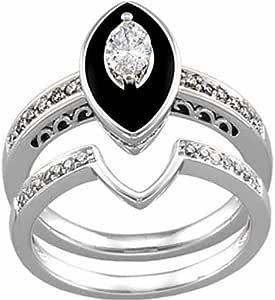Amazon.com: 14K White Gold Antique-Inspired Marquise Black