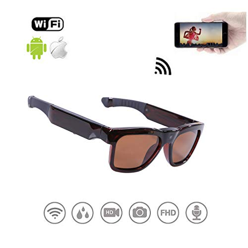 WiFi Live Streaming Video Sunglasses, Streaming Videos & Photos from Glasses to Mobile Phone by App with Ultra Full HD Camera, Built-in 32GB Memory and Polarized UV400 Protection ()
