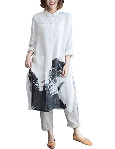 Button Down Shirts Blouses Casual Painting
