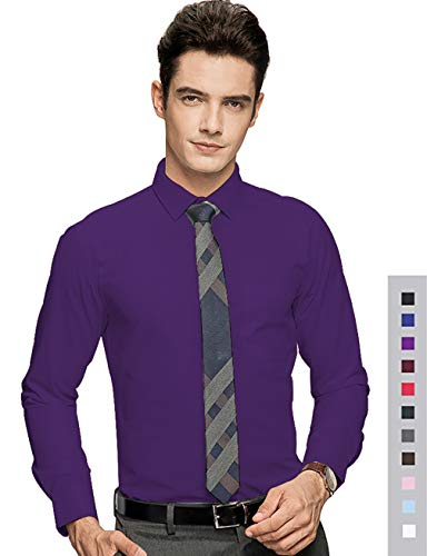 diig Men Slim Fit Long Sleeve Dress Shirt, Purple 16.5