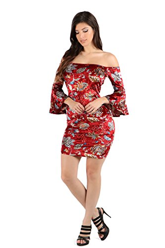 ShopWTD Womens Off Shoulder Bell Sleeves Floral Velvet Patterned Bodycon Dress (Medium, Burgandy_M22040) (Velvet Dress Burgandy)