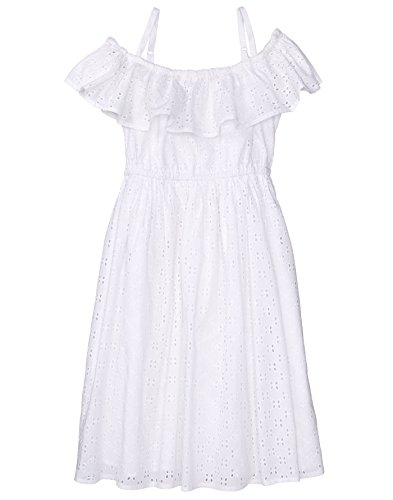 Gymboree Girls' Little' Eyelet Ruffle Dress, White, -
