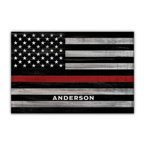 Pretty Perfect Studio Custom Thin Red Line, Firefighter Name Sign | 11x14 Ready-to-Hang Canvas, Personalized Fire Department Wall Art Gift, Fireman Home Decor