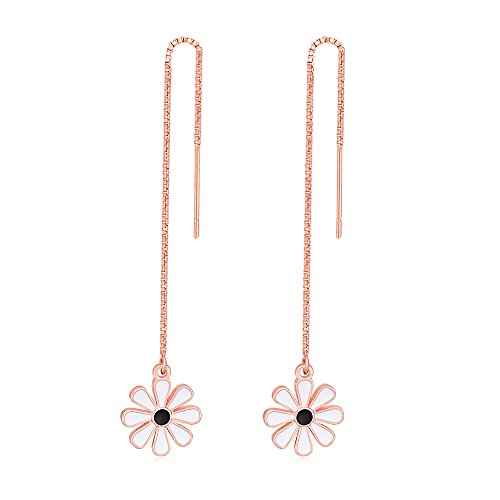 (TUSHUO Simple Don't Forget Me Enamel Flower Earrings Floral Daisy Line Threader Drop Earrings for Women (Rose)