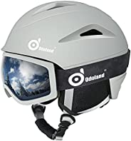 Odoland Ski Helmet, Snowboard Helmet with Ski Goggles for Skiing, Shockproof, Windproof, Safety Snow Sports He