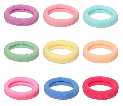 100 PCS High Elastic Stretch Hair Bands Hair Ties Rope Ponytail Holders Headband Scrunchie Hair Accessories,No Slipping Snagging Breaking or Stretching Out (Mixed Colors)