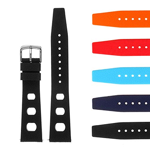 StrapsCo Vintage Dive Style Silicone Rubber Rally Watch Band - Quick Release Strap - 18mm 19mm 20mm 21mm 22mm