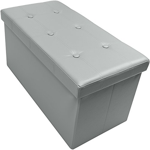 Sorbus Storage Bench Chest - Collapsible/Folding Bench Ottoman with Cover - Perfect Hope Chest, Pouffe Ottoman, Coffee Table, Seat, Foot Rest, and More - Contemporary Faux Leather (Gray)