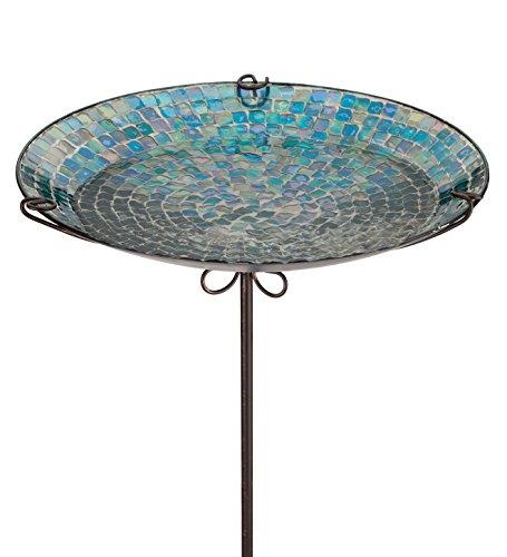 Regal Art & Gift 14 Inches x 14 Inches x 26 Inches Birdbath Feeder Stake Blue Onion Drop Garden Decor Mosaic Birdbath