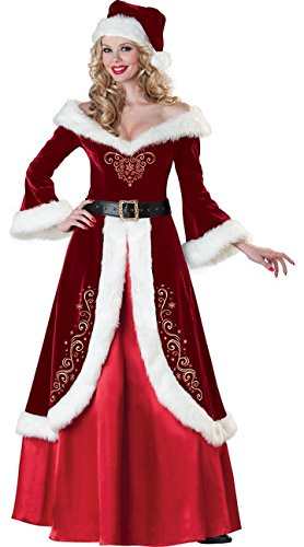 Simplecc Womens Mrs. Claus Costumes Long Dress Cosplay Outfits Christmas Costume X-Large]()