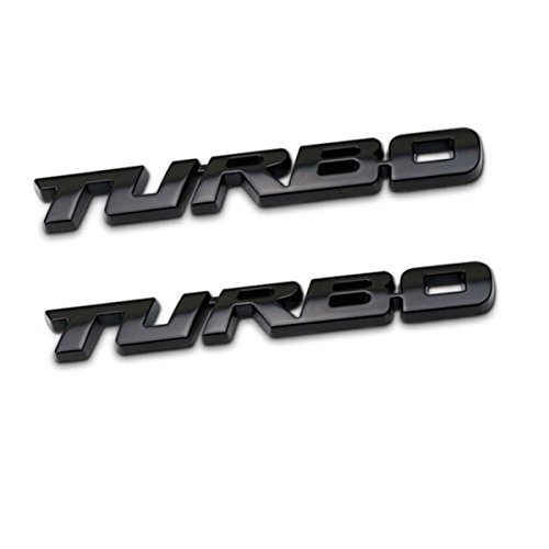 TK-KLZ 2Pcs 3D Metal TURBO Premium Car Side Fender Rear Trunk Emblem Badge Decals for JEEP BMW Dodge Mercedes Benz Chrysler Toyota Honda Nissan Kia Hyundai Chevrolet Ford Red