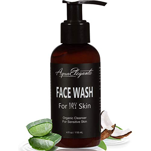 Face Wash For Dry Skin - Organic Facial Cleanser With Vitamin C & E For Sensitive Skin - Natural Acne Cleansing Facewash With Moisturizing Aloe Vera Gel And Coconut Oil