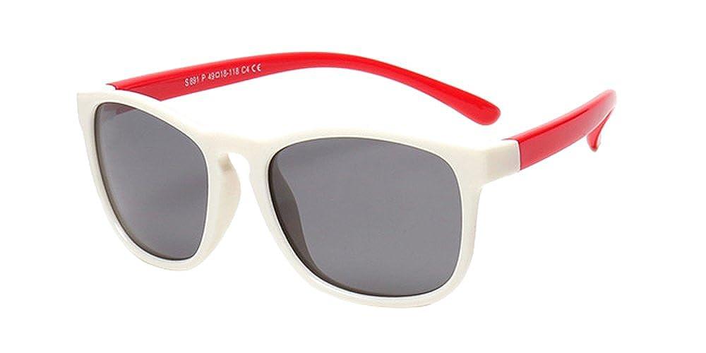 XFentech Unisex Bambini Classico Wayfarer Moda Polarizzate Occhiali da Sole Gommati Flessibili Ragazzi & Ragazze Leggero Occhiali Arancione/Bianco