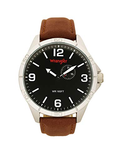 Wrangler Men's Watch, 48mm with Date Function Sub-Dial and Polyurethane Band, Water Resistant