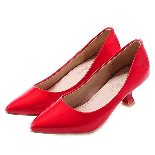 SJJH de con Sandalias Mujer Cuña Sintético Material Rojo PBRBqxt