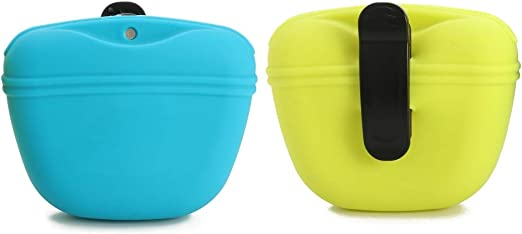 RoyalCare Silicone Dog Treat Pouch-Small Training Bag-Portable Dog Treat Bag for Leash with Magnetic Closure and Waist Clip[US Design Patent]