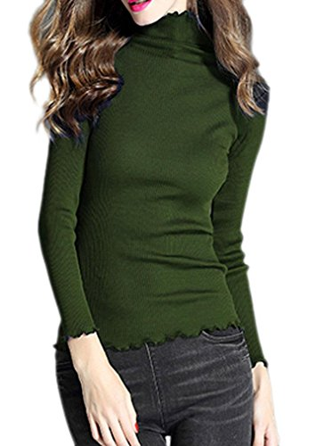Silk Stretch Mock Neck Sweater - LIREROJE Women's Basic Long Sleeve Ribbed Knit Turtleneck Sweater Top Olive One Size