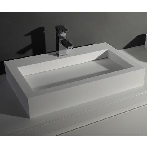ID Rectangular 24 in. Solid Surface Vessel Sink Bowl Above Counter Sink Lavatory by ID Bath Collection