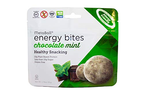 MetaBall Energy Bites – Chocolate Mint, Bite-Sized Protein Snack, Allergy Friendly, Vegan, Kosher, Gluten-Free (10-Pack, 1.76 oz)