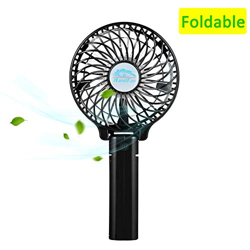 Immuson Mini Handheld Fan, Small Personal Portable Desk Table Fan with USB Rechargeable Battery Operated Cooling Folding Electric Fan for Office Outdoor Household Beach Concert Traveling Black