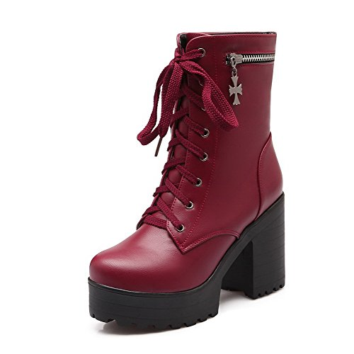 Halloween Events In Columbus Ohio (WeiPoot Women's Solid Pu High Heels Round Closed Toe Lace Up Boots, Claret, 41)