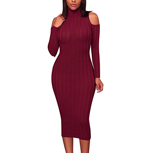 Women Sexy Cold Shoulder Knitting Sweater Long Sleeve Bodycon Party Mini (3/4 Sleeve Mini Sweater)