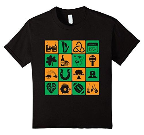 Kids Irish Icons Symbols Shamrocks Patrick's Day Gift Tshirt 10 Black
