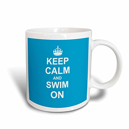 3dRose mug_157778_2 Keep Calm and Swim on Blue Carry on Swimming Hobby or Pro Swimmer Gifts Pool Fun Funny Humor Ceramic Mug, 15-Ounce